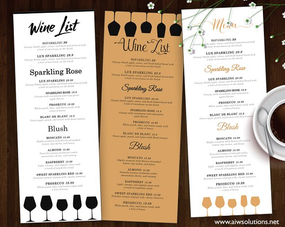 Wine list wine menu flyer templates creative market for Wine dinner menu template