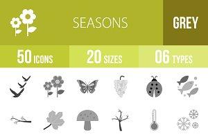 50 Seasons Greyscale Icons