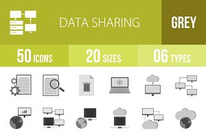 50 Data Sharing Greyscale Icons