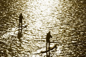 men on stand up paddle board