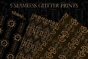 Glitter ornament seamless patterns