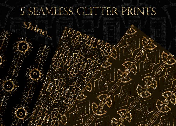 Glitter ornament seamless patterns - Patterns