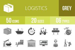 50 Logistics Greyscale Icons