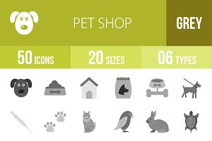 50 Pet Shop Greyscale Icons