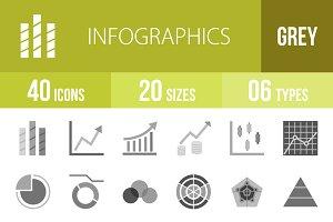 40 Infographics Greyscale Icons