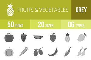 50 Fruits Vegetables Greyscale Icons