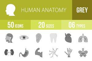 50 Human Anatomy Greyscale Icons