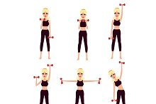 Sporty girl with dumbbells set
