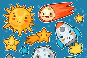 Set kawaii space objects.