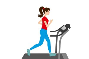 Pretty woman running on a treadmill