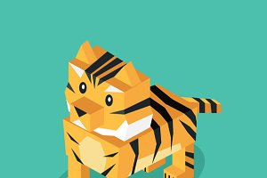 Isometric 3d Tiger Animal Isolated