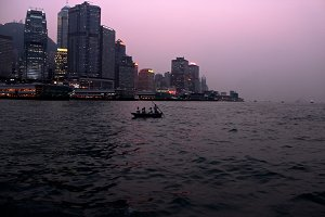 Dusk on Victoria Harbour, Hong Kong