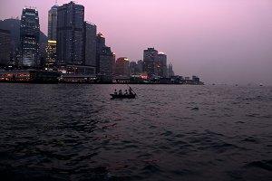 Dusk on Victoria Harbour, Hong Kong