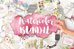 Big Floral Watercolor Bundle I.