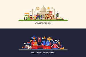 India, Holland Travel Banners Set
