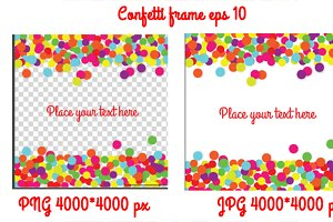 Confetti frame background. Vector
