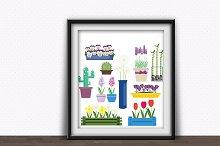 Indoor and garden flowers vector set