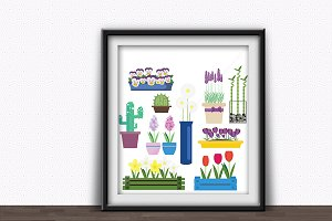 Indoor and garden flowers vector set
