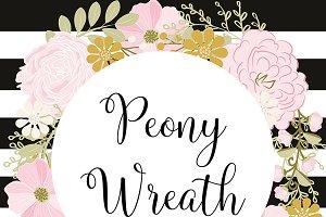 Vector peony wreath