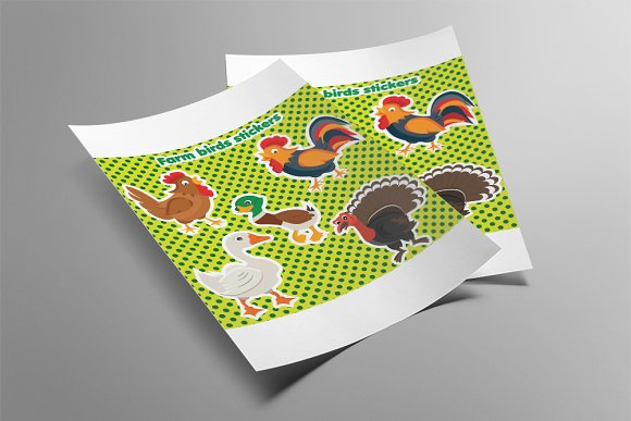 Farm birds in cartoon style.Vector - Illustrations