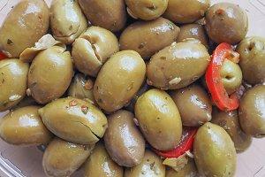Green olives vegetables background
