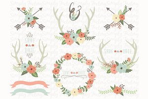 Vintage Floral Antlers Elements