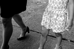 Mother & Daughter walking, Chinatown