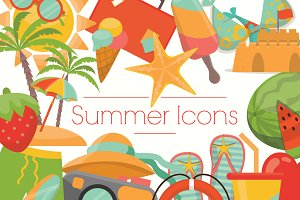 Summer Icons with Beach Elements