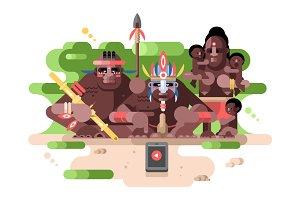 Aboriginal tribe and a smartphone
