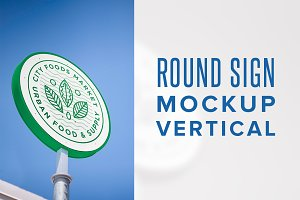 Round Sign Mockup - Vertical