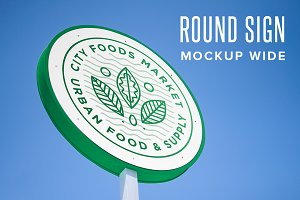 Round Sign Mockup - Horizontal