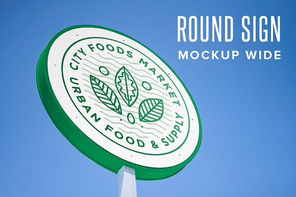 Free Round Sign Mockup - Horizontal