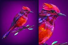 Red bird (Birds set. Vector)