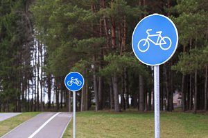 Bicycle path signs in a park