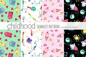Watercolor Seamless Patterns - Kids