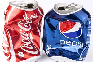 Crashed Cola and Pepsi cans