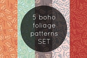 5 Boho Foliage Patterns SET