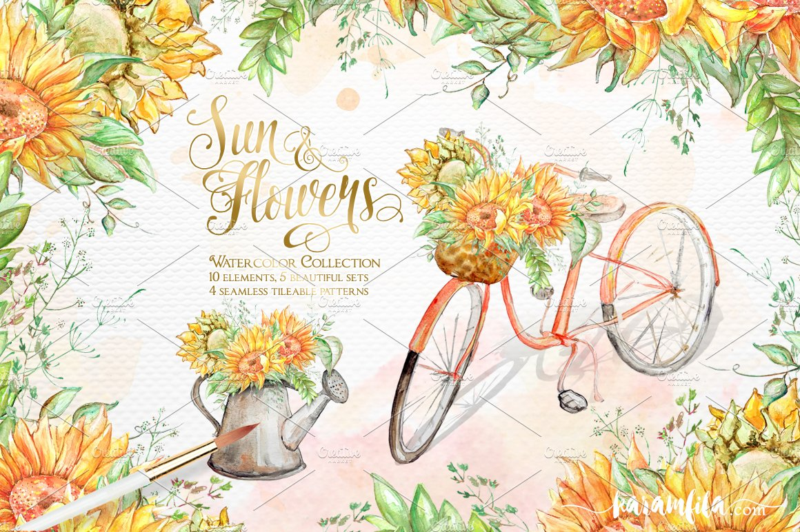 SunFlowers Graphic Collection Illustrations Creative Market