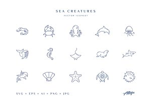 Sea Creatures (vector icons)