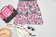 Fashion girl clothes accessories set.Hipster style