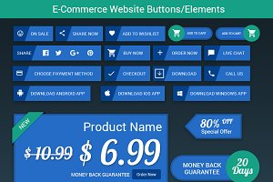 Flat E-commerce Web Buttons/Elements