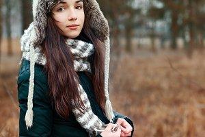 Pretty girl in winter hat