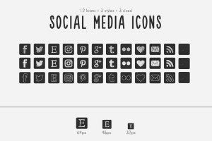 Square Chalkboard Social Media Icons
