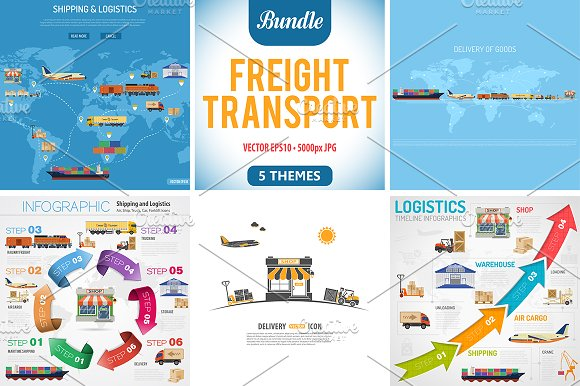 Freight Transport Infographics in Illustrations