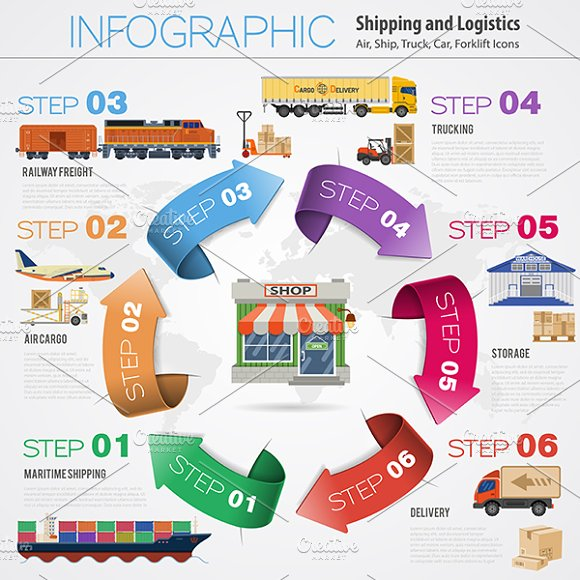 Freight Transport Infographics in Illustrations - product preview 2