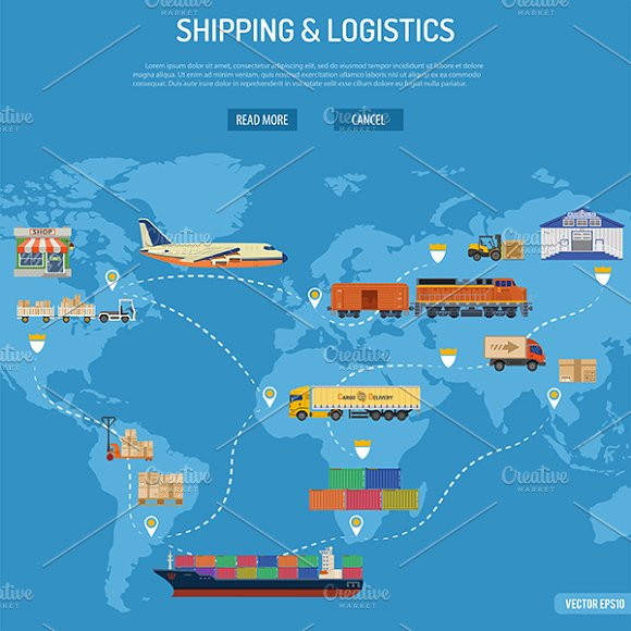Freight Transport Infographics in Illustrations - product preview 3