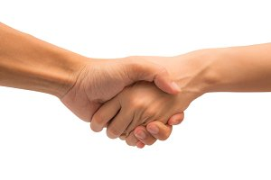 Business shake hand action