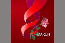 Ribbon March 8 greeting card