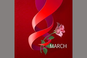 Ribbon March 8 greeting card