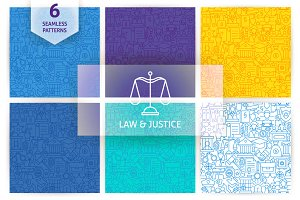 Law & Justice Line Seamless Patterns